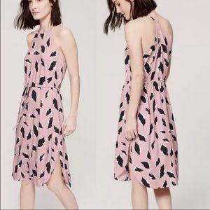 LOFT Mauve Pink Leafy Halter Ice Rose Midi Dress